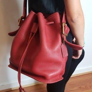 Coach red drawstring bucket bag